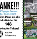 """Ticketaktion """"MFV gegen Corona"""" – MFV bedankt sich für 148 Tickets"""